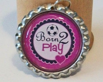 Fun Purple Born to Play Soccer Flattened Bottlecap Pendant Necklace