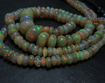 14 Inches Ethiopian Opal Smooth Rondells Very Good Quality Full Flashy Fire Natural Color  Size 3 mm To 8 mm  Approx