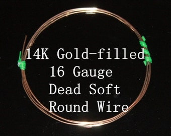 16 g ga Gauge 14k Gold-Filled Wire - Round - Dead Soft - sold by 3 inches increments (RW1602GF)