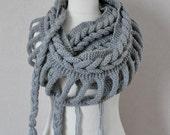 Grey Infinity scarf - Hand knit infinity scarf - Gray scarf - Cable knit infinity scarf - gray loop scarf