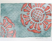 Original Abstract Watercolor Painting, flower motif with embroidered sashiko pattern