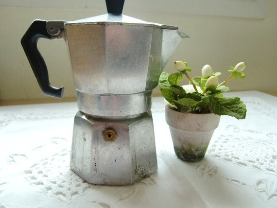 Italian Coffee Maker Aluminum : Vintage Italian Expresso coffee maker Aluminum Hexagon coffee