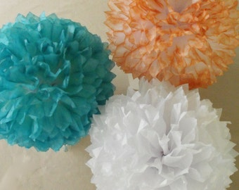 3 Teal and Coral Poms, Teal Coral Wedding Decorations, Tissue Paper Pom Poms, Teal Coral Baby Nursery, Baby Shower, Shower Decorations