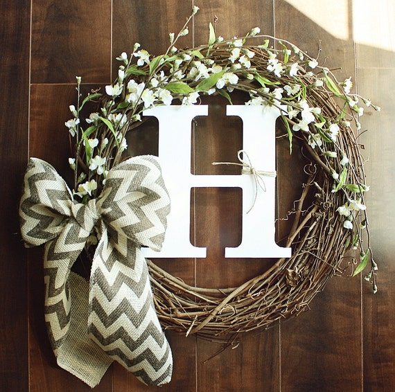 Monogrammed Grapevine Wreath With White Cherry Blossom Details