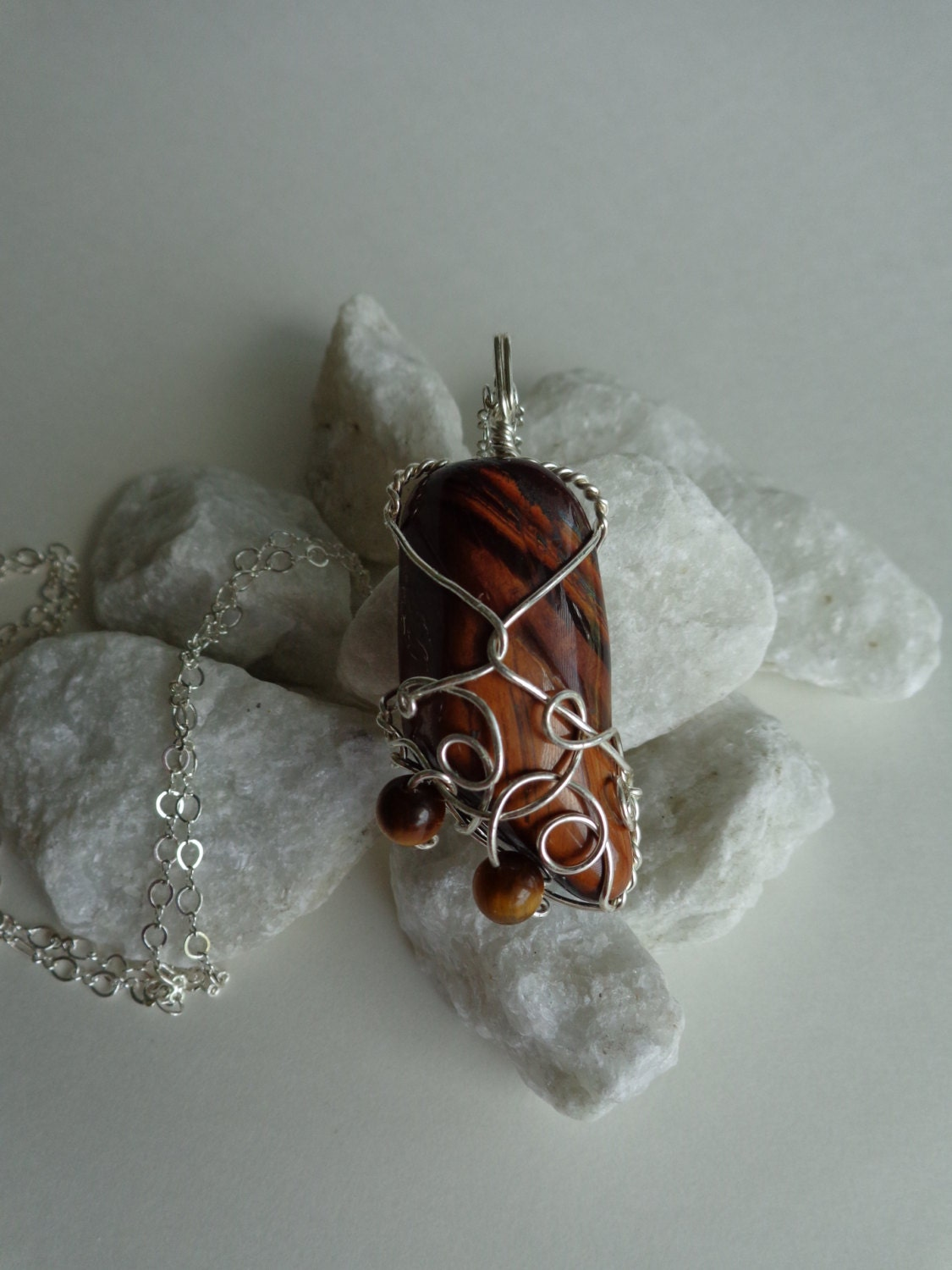 Tiger\'s Eye Pendant, Grounding, Protection,Will Power Necklace, Wire ...