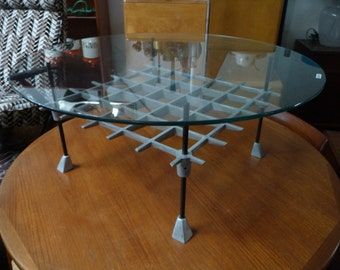 Mid-Century Robert Josten Coffee Table Metal and Glass