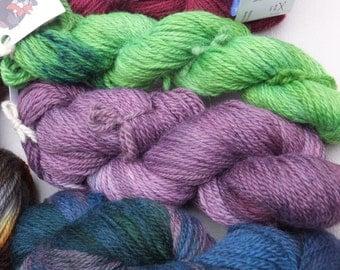 Hand-dyed aran weight yarn 100% wool