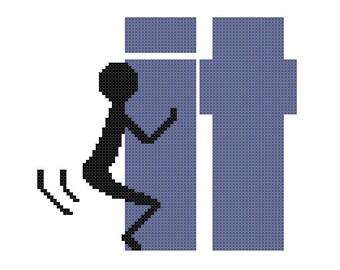 Funny Cross Stitch Pattern PDF MATURE - Fuck It Stick Figure - Text Screw It