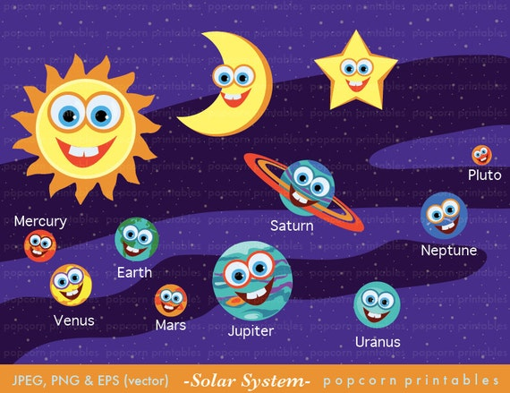 Solar System Clipart Set Instant Download by PopcornPrintables