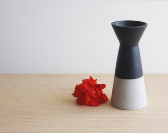 Gray vase with matte black glaze. Urban and modern look