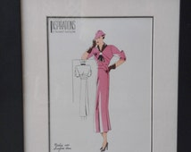Fashion Print, French Fashion , 1940 Fashion,  Color Drawing, Framed Art, Inspirations D'Avant Saisons,