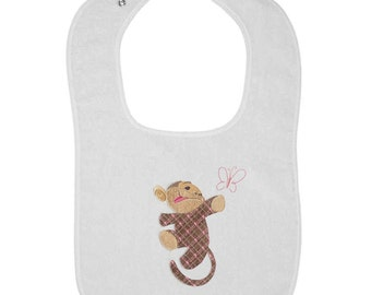 Patterned Monkey with Butterfly Embroidered Terry Cloth Bib