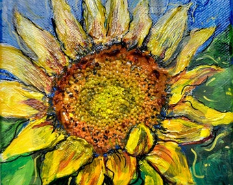 My Vangogh Sunflower Gallery wrapped painting with Mustard Seed