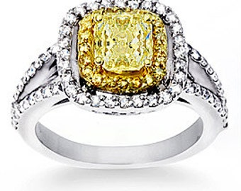 1.87 ct. tw. Fancy Yellow Diamond Engagement Ring
