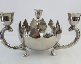 Beautiful Vintage Silver Lotus Bowl Candlestick Holder
