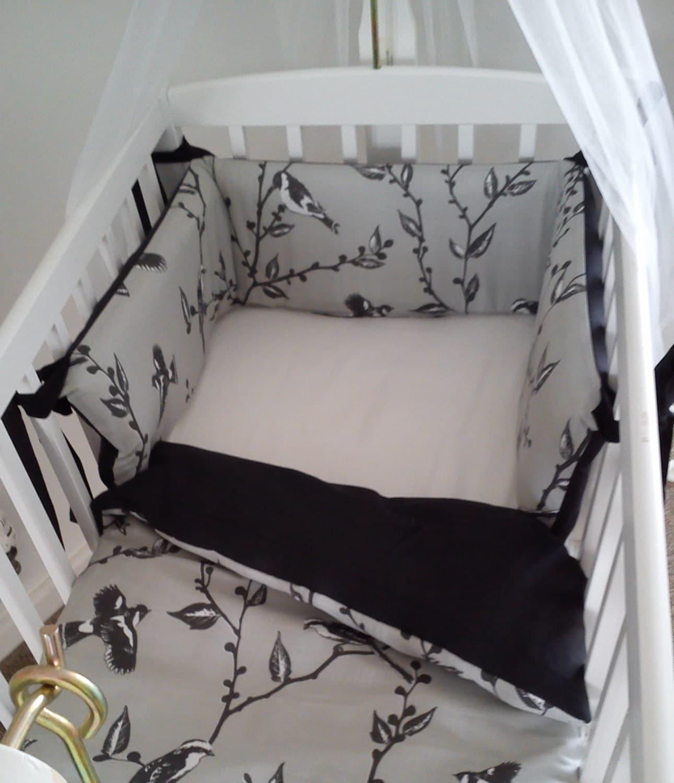 vintage style bird crib bedding black grey and white