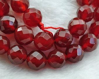 Cornelian faceted Round  beads 10mm,37 pcs