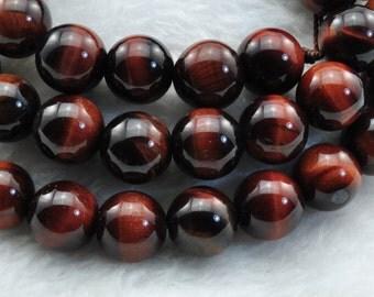 Red Tiger Eye smooth round beads 10mm,37 pcs
