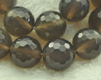 Grey Agate  faceted Round  beads 14mm,28 pcs