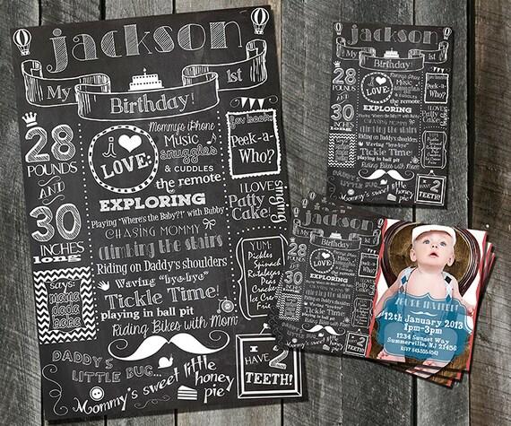 First Birthday Party Invitation Boy Chalkboard: First Birthday Invitation Custom Birthday By