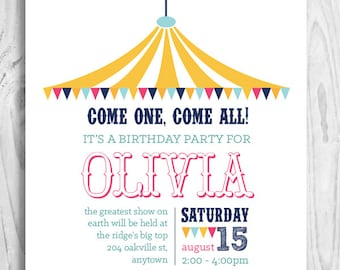 Circus Printable Party Invitation - Big Top