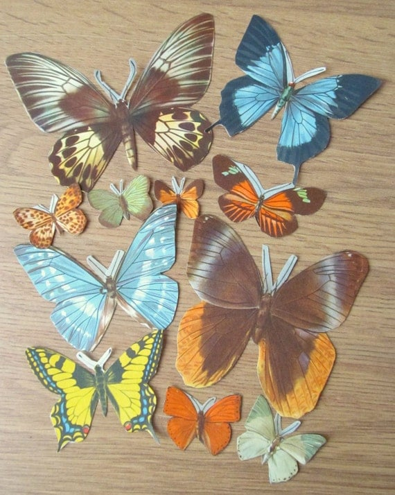 Vintage paper butterflies: old paper 1950s butterflies for altered art, collage, scrapbooking, upcycling -pack of 11 butterflies from the UK