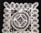 """9"""" square cotton battenburg lace delicate doily, with the charm of Downton Abbey furnishings"""