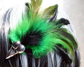 Exclusive 'Emerald Raven' hair grip/ fascinator in black and emerald green.
