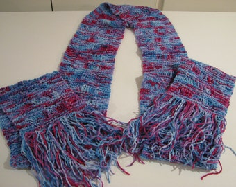 Long pink and purple fringed scarf
