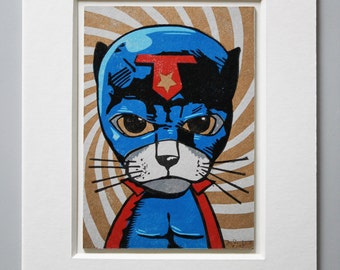 Super Cat Linocut with Passe Partout