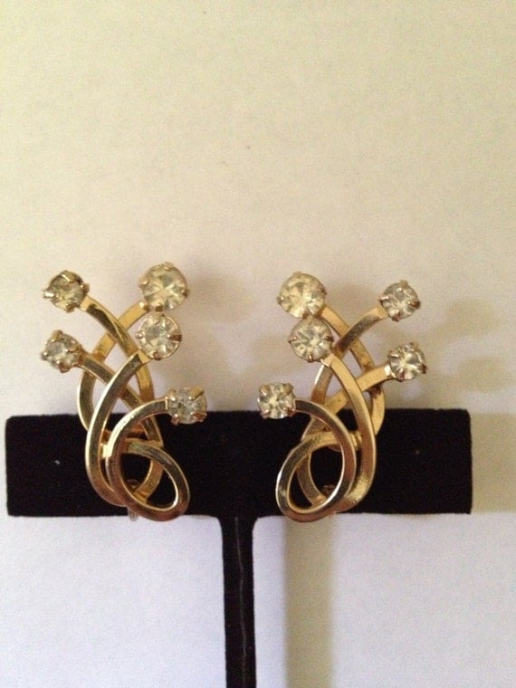 mod earrings emmons vintage jewelry by purpledaisyjewelry items similar to emmons rhinestones and swirls earrings