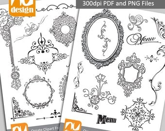 26 Ornate Digital Clipart Frames and Elements - 300dpi PNG and PDF files. Ideal as overlay masks to add texture.