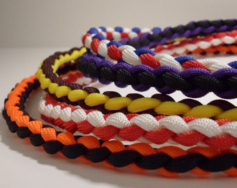 Handmade Paracord Necklace in Your Favorite Team Colors. ALL materials are Made in U.S.A.