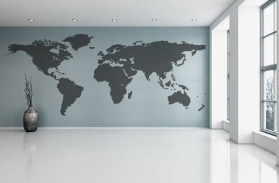 World Map Wall Decal Vinyl Wall Sticker Decals Home Decor Art