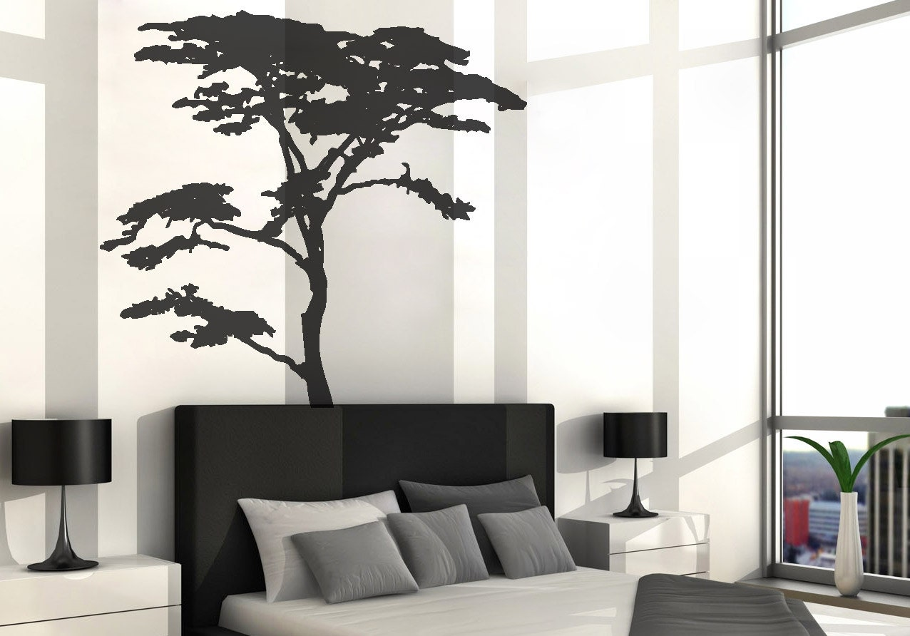 Vinyl art decal realistic african tree wall sticker decals for Black tree wall mural