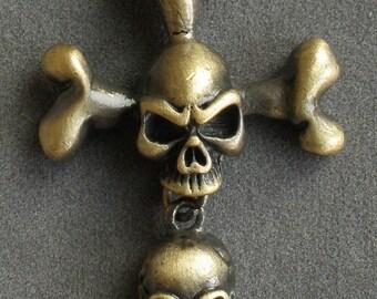 Bronze Alloy Ghost Skull Pendant Necklace EZ0019