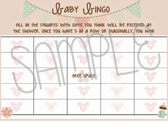 PRINTABLE Baby GIRL shower bingo cards-shower bingo-pink baby shower bingo printable