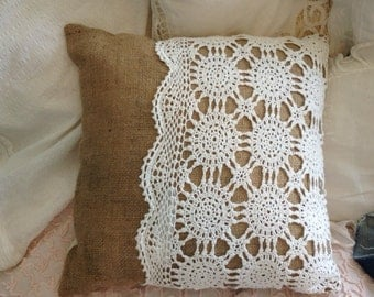 Lace and Burlap Throw Pillow