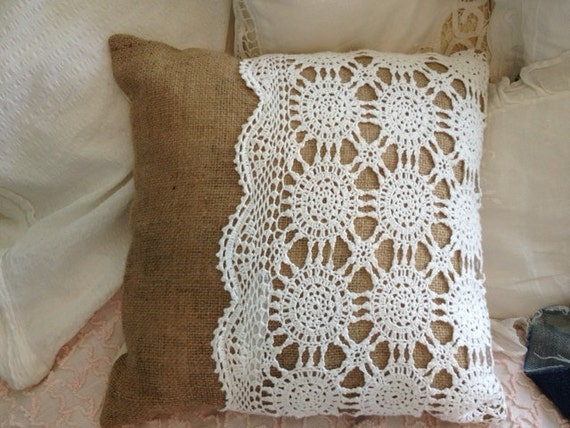 Burlap Throw Pillows Etsy : Items similar to Lace and Burlap Throw Pillow on Etsy