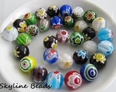 Millefiori Glass Beads, Multi-color, Round with Flowers,12mm