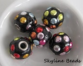 Indonesia Beads, Handmade, Black, Clay with Rhinestones and a  Brass Core, 18mm x 16mm