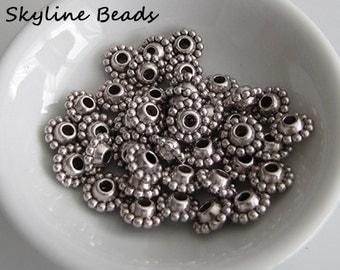 Tibetan Style Beads, Antique Silver, DiskShape, 9mm x 5mm