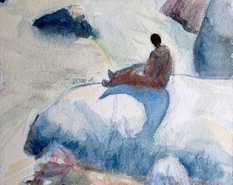 Under Machu picchu orginal watercolor painting 6 x 6