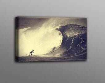 Big Wave Surfer Photo Canvas Print Surf Art Home Decor