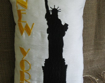 Patriotic 'New York's Liberty' Embroidered Pillow on faux Silk Fabric