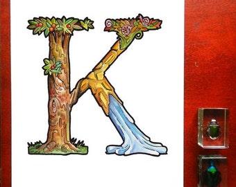 "Illustrated ""K"" 8x10 inch print"