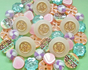 85 mix vintage new assorted plastic buttons lot w/ rhinestone PML024