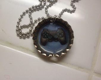Playstation controller bottle cap necklace