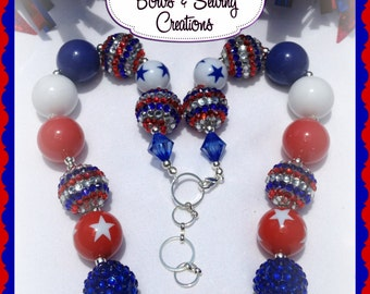 CLEARANCE PRICED! Patriotic  4th of July Chunky Bead Necklace  Now20% off