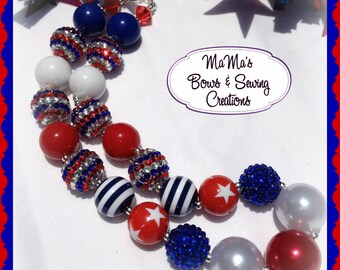 CLEARANCE PRICED!! 4th of July Chunky Bead Necklace